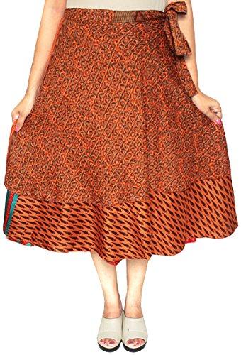 3 Pcs al Por Mayor Porción Dos Capas Sari India Mágico Falda Del Abrigo Mujer