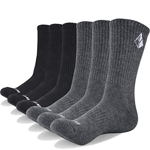 Casual Mens Socks - YUEDGE 6 Pack Unisex Performance All Season Cotton Cushion Crew Work Athletic Casual Socks(XL)