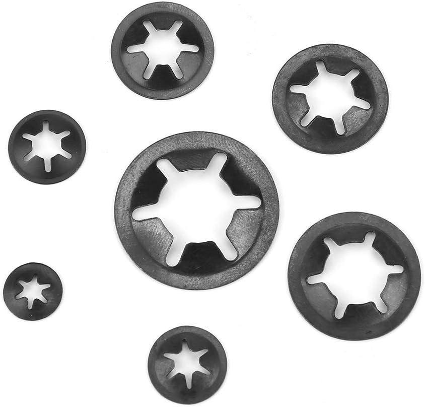 12mm acier au mangan/èse sur la rondelle de retenue Pousser des rondelles de blocage Set Kit Assortiment Rondelles Tooth interne 260 pcs 3//4//5//6//8//10 Rondelles de blocage