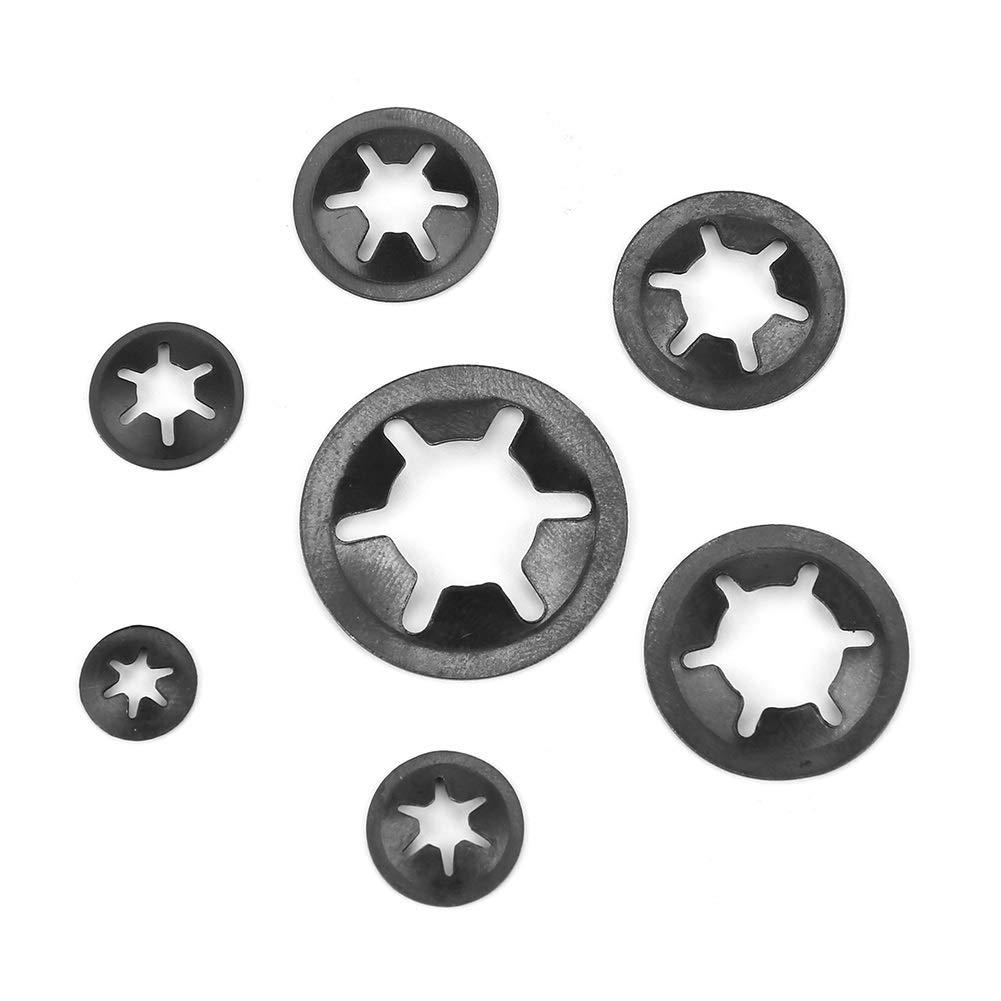 Arandelas de seguridad 260 piezas Arandelas de presi/ón de acero al manganeso Juego de arandelas de seguridad de retenci/ón 3//4//5//6//8//8//10//12 mm