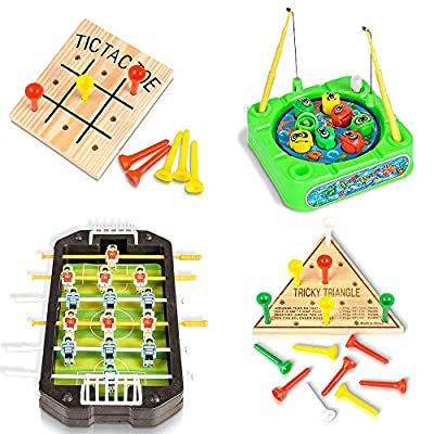 ArtCreativity Travel Road Trip Games for Kids and Adults (4 Pieces)   Set Includes Mini Tic-Tac-Toe, Triangle Game, Soccer Table, & Fishing Game   Fun Car/ Airplane Traveling Games Kit