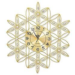 HONGLIAN Wall Clock Big Dial Alarm Clock Living Room Wall Clock Fashion Modern Home Quiet Bedroom Clock Decorative Wall Clock (Color : Brushed Small Aluminum Plate Gold)