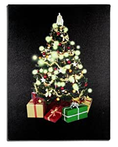 Wall Art with LED Lights Canvas Print Lighted Candle Picture Christmas Tree