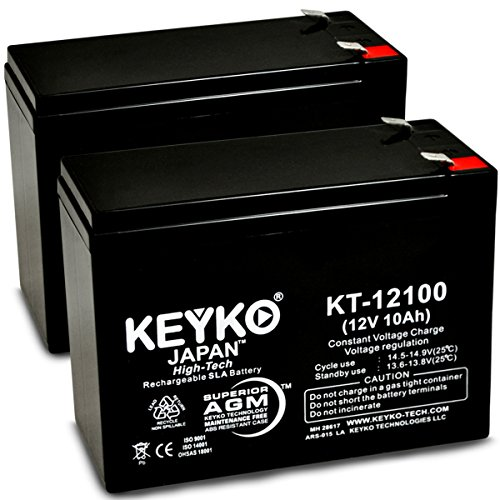 1 12V 10Ah / REAL 10.0 Amp SLA Sealed Lead Acid AMG Rechargeable Replacement Battery Genuine KEYKO - F2 Terminal - 2 Pack ()