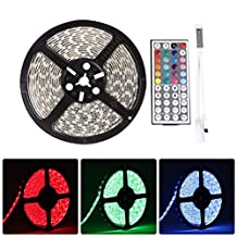 LEDMO 12V Waterproof Flexible SMD 5050 RGB LED Strip Lights, LED Tape, Multi-colorsLight Strips, Color Changing, Pack of 16.4ft/5m String with 44 Keys IR Remote Controller