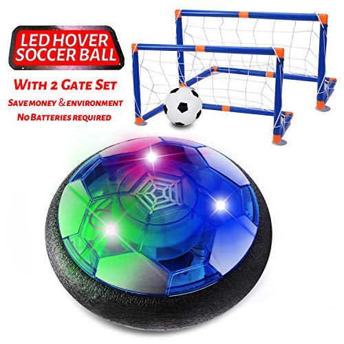 SUGIFT Hover Soccer Ball for Kids, Rechargeable Indoor Soccer Toys with 2 Goals, Indoor & Outdoor Hover Football Toy with LED Light and Foam Bumpers, for 3 4 5 6 7 8-16 Years Old Boy Girl