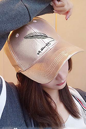 Unique Hat Cap Fashion Women Girls Spring xiasi Satin Cap Embroidered Base Feather Pattern Men Casual Turn-Brimmed Tide