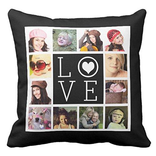 Emvency Throw Pillow Cover Black Photos Love 12 Collage White Create Decorative Pillow Case Home Decor Square 20 x 20 Inch Pillowcase