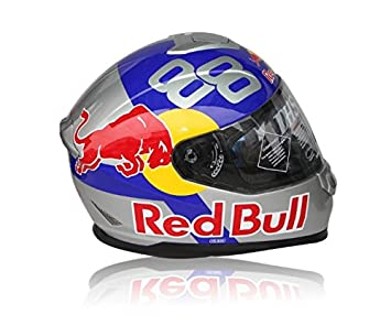 CASCO MOTO RED BULL PLATA