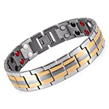 Product review for Double Strength 4 Elements Stainless Steel Magnetic Therapy Negative Ions Germanium Link Bracelet for Arthritis Pain Relief Anti-Radiation(Imported,3000 Gauss Each Link)