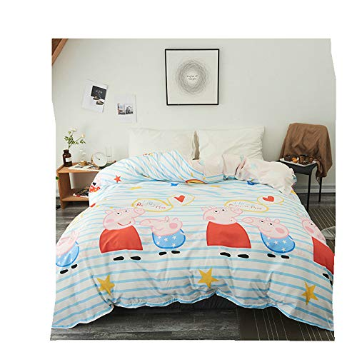(KFZ Only Duvet Cover (Twin Full Queen King Size) Without Comforter Flat Sheet Pillow Covers by Love Heart Pineapple Puppy Peppa Pig Designs for Girls Kids 1pc (Peppa Pig, Pink, Queen 78
