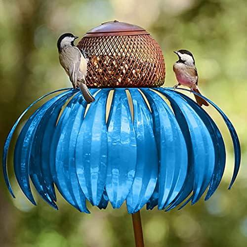 Hummingbird Feeders for Outdoors, Coneflower Standing Bird Feeder, Outside Rust Resistant Garden Art Metal Birdfeeder with Stand, Sensation Pink Bird Feeder (Blue, 1PC)