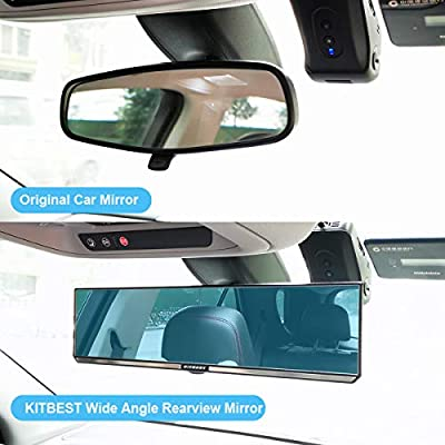 KITBEST Anti Glare Rear View Mirror, 300mm Flat Rearview Mirror Clip on Car Interior Mirror, Wide Angle Panoramic Auto Blue Mirror to Reduce Blind Spot and Antiglare Effectively: Automotive