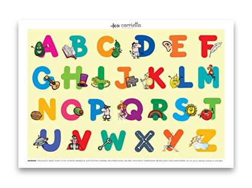 Carriella 60 Count ABC Disposable Placemats for Children Stick on Table Topper (Placemat Restaurant)