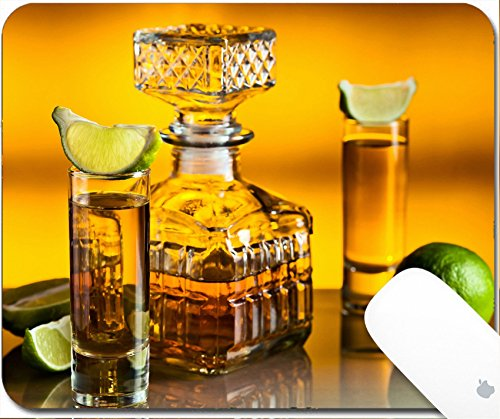 Luxlady Gaming Mousepad 9.25in X 7.25in IMAGE: 20045836 gold tequila and lime on a glass table