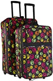 Peace Sign Two Piece Rolling Luggage Set