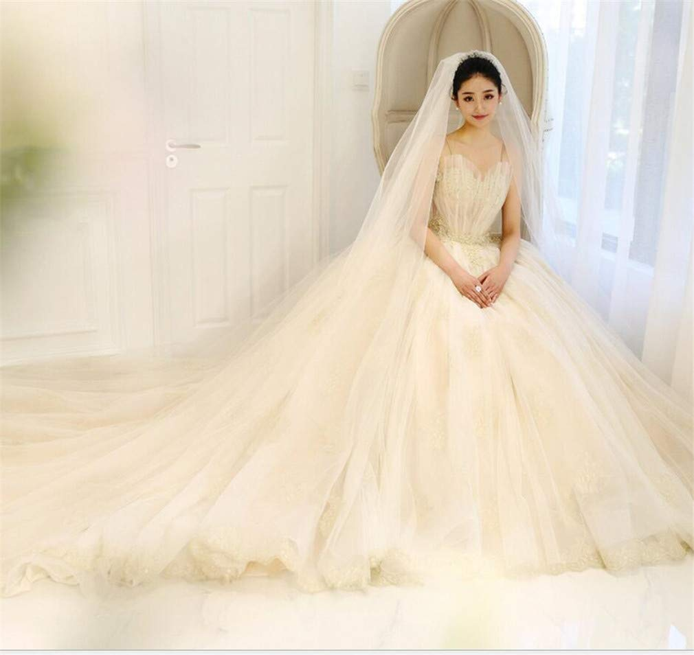 Wedding Dress, Europe and America Dream Sling Shell VNeck Waist Pearl Embellishment Stereoscopic Waist Dress
