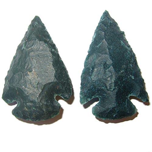 SatinCrystals Bloodstone Raw Gemstone Premium Pair of Arrowhead Stones Sacred Healing Energy Tools P01 (Green, 1.25 Inches) by SatinCrystals