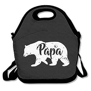Papa Bear Waterproof Reusable Neoprene Lunch Box With Adjustable Shoulder Strap For Men Women Adults Kids Toddler Nurses