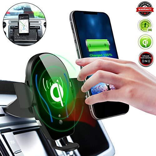 Qi Wireless Car Charger,CD Slot Phone Mount[Infrared-Sensing][10W Fast Charging] Car Phone Holder Fits for iPhone X/XS/XS Max/XR/8 Plus and Samsung S10/S10+/S10E/S9/S9+/Note9/S8+