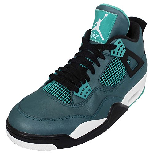 Jordan Nike Mens Air 4 Retro Basketbalschoen Groenblauw / Wit / Zwart