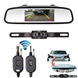 ZSMJ Wireless CMOS Rear View Backup Camera and Mirror Monitor Kit for Car vehicle With 7 LED Night Vision Waterproof Universal