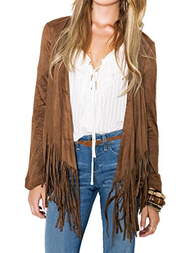 Clothink Women Brown Faux Suede Long Sleeve Collarless Open Front Tassel Coat
