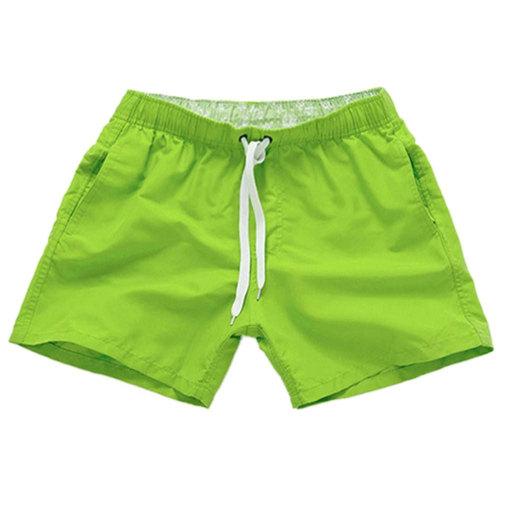 NUWFOR Men Pure Color Splice Stripe Beach Work Casual Men Short Trouser Shorts Pants(Army Green,US S Waist:27.56-32.28'')