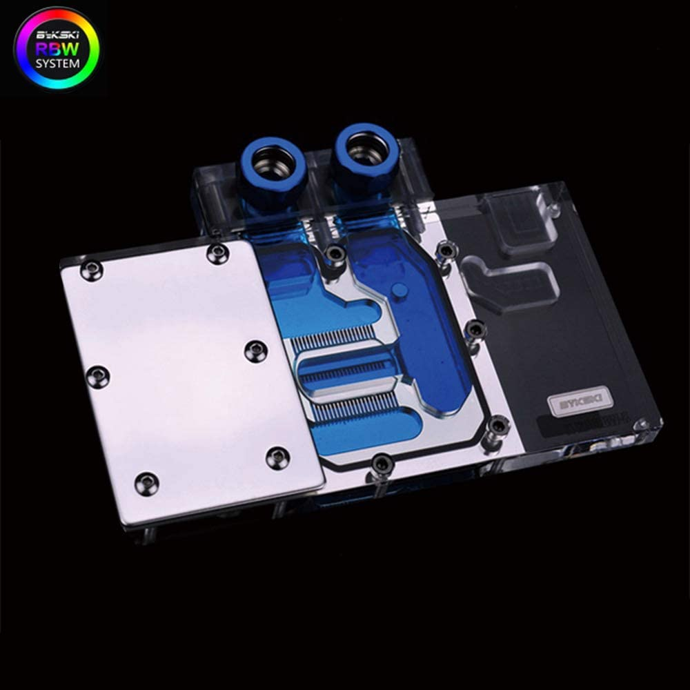 Bykski PC Water Cooling Full-Cover RGB RBW LED GPU VGA Block for Graphic Video Card XFX RX 580 8G RX 480 4G (RBW LED Block)