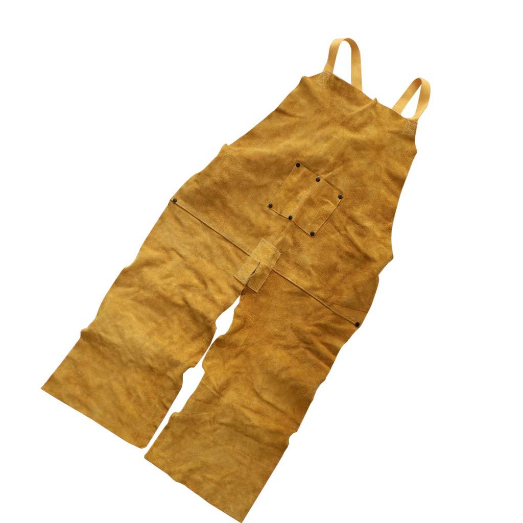 Homyl Delantal de Soldadura de Cuero Resistente al Calor con Tipo Pantalones Correas Ajustables para Soldador Taller Actividades de Garaje - Amarillo: ...