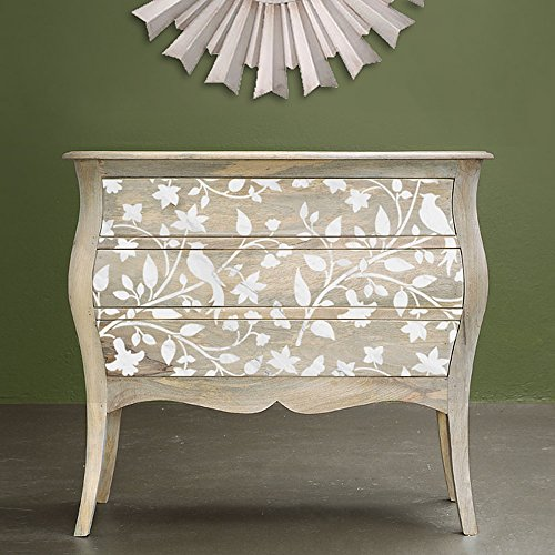 Birds on a Vine Furniture Stencil - DIY Pearl Inlay Designs for Furniture Makeover