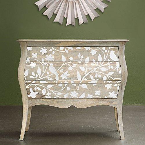 Birds on a Vine Furniture Stencil - DIY Pearl Inlay Designs for Furniture - Imagine Pattern Wallpaper