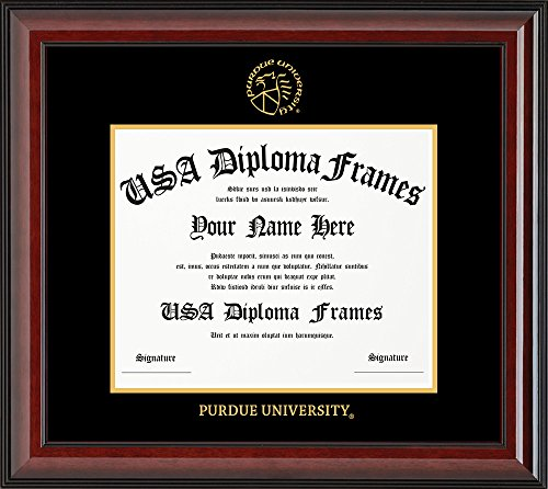 (Purdue University Diploma Frame - Cherry Glossy with Black Suede Matting)