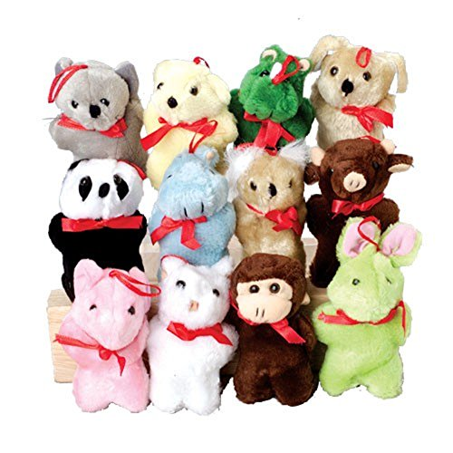 Assorted Small Plush Stuffed Animals With Red Ribbon Bows (12) by U.S. Toy