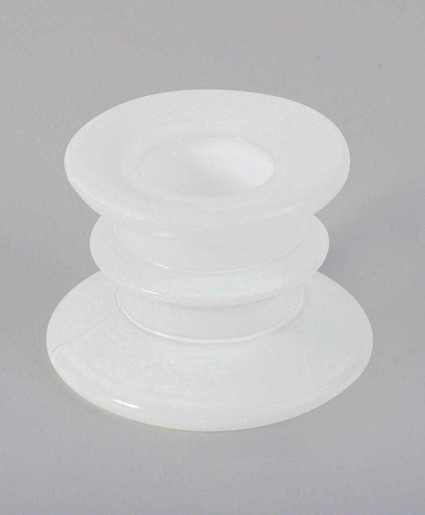 Ck - Bougeoir Verre Blanc Ht 4cm Lot de 2