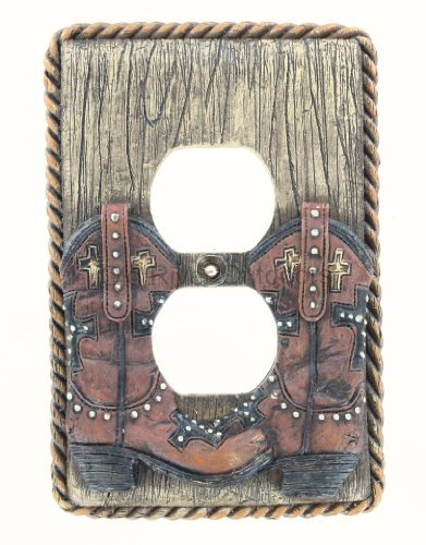Cross Cowboy Boot / Rope Outlet Cover Plate - Duplex Western Boots Rodeo Decor ()