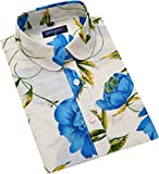 QIHUANG Bloomy Flowers Printed Women's Dress Pastoral Partysu Style Shirt Short Sleeve Button Down Collared Cotton Blouses (XL, Blue)