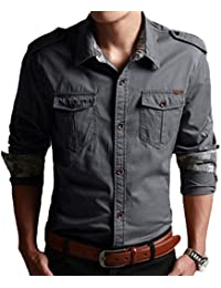 Men's Classic Retro Military Camouflage Lined Patchwork Shirt