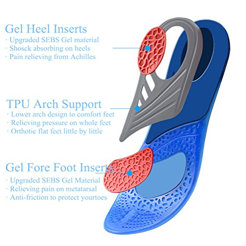 Insoles Comfort Shoe Inserts Shock Absorption Silicone Gel Sports Insoles Pain Relief Shoe Soles (L:7-13) by Espcheap (Image #1)