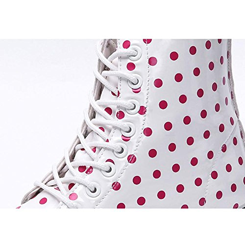 Women Martin Boots Short Leather Flat Heel Waterproof Warm Casual Shoelace Retro Dots Student Shoes RED-35 NCyce0dN