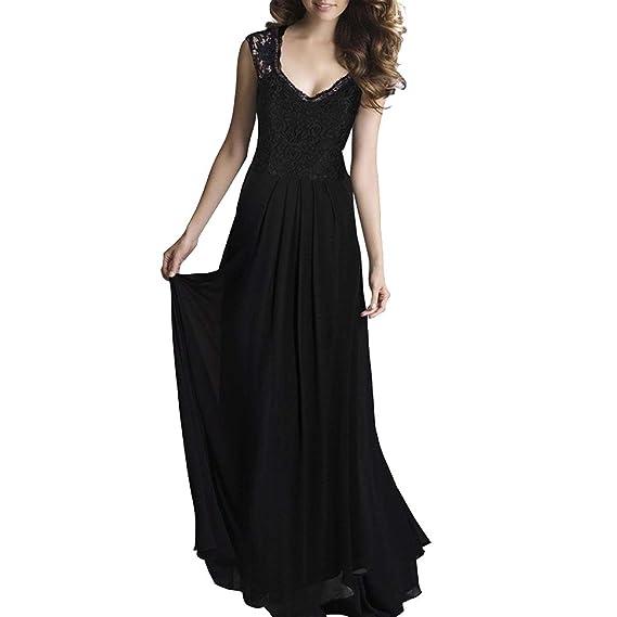 204f4e8988 JINGLIYA Dentelle Sol Jupe Longue Sans Manches Creux Dos Nu V-cou Robe Robe:  Amazon.fr: Vêtements et accessoires