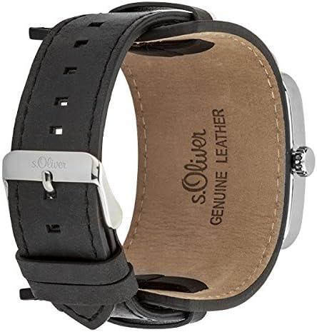 s.Oliver SO-3047-LQ - Orologio da polso da uomo, cinturino in pelle colore nero