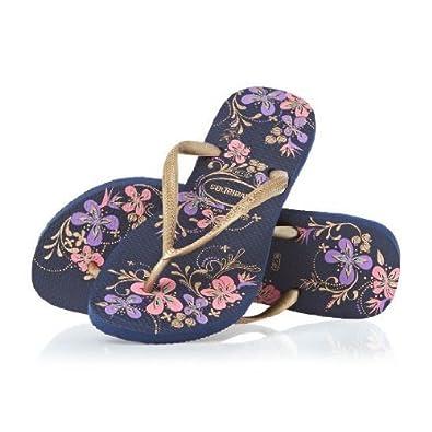 cb22b2d404c828 Havaianas Slim Season Navy Blue Gold Womens New Beach Flip Flops-39   Amazon.co.uk  Shoes   Bags