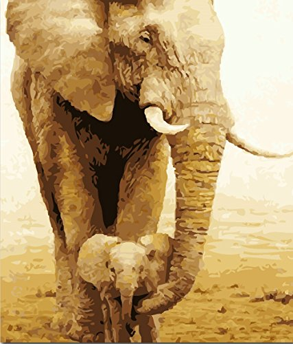 JynXos Paint by Number Kits for Adults Kids - Elephant Mom and Kid 16x20 Inch Without Frame
