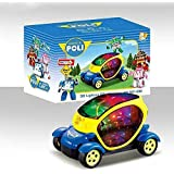 """Bezrat Electric Car with Lights 6"""", Sirens and Sounds, goes around and changes directions on contact (Battery Powered) - Great Gift, Toys for Kids (colors may vary) 6 x 3.2 x 3.2 inches"""
