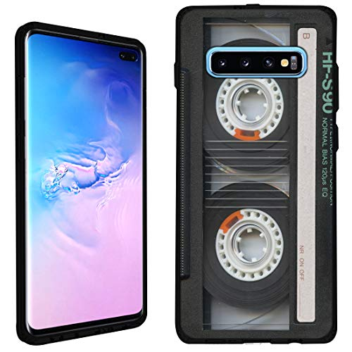 Cover Cassette Case - Galaxy S10 Plus Case [Cassette Tape](Black) PaletteShield Flexible Slim TPU Skin Phone Cover (fit Samsung Galaxy S10 Plus)