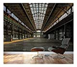 excellent abstract wall mural  - Industrial Interior of an Old Factory Building - Removable Wall Mural | Self-adhesive Large Wallpaper - 100x144 inches