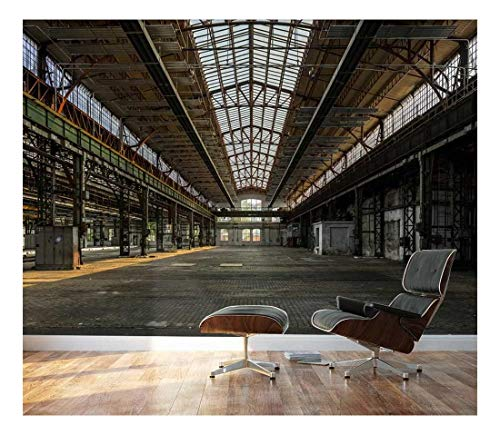 (wall26 - Industrial Interior of an Old Factory Building - Removable Wall Mural | Self-adhesive Large Wallpaper - 100x144 inches)