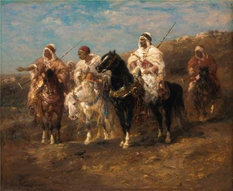 [Oil Painting 'Adolf Schreyer,Arab Horsemen,about 1860', 8 x 10 inch / 20 x 25 cm , on High Definition HD canvas prints is for Gifts And Dining Room, Hallway And Home Theater] (Arab Money Costume)