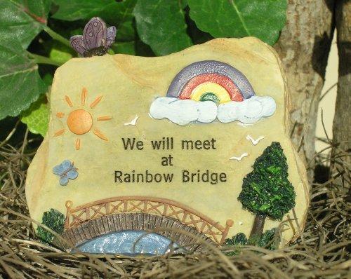 Pet Memorial Desk Top Message Rock - Rainbow Bridge - Approx